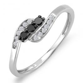 0.25 Carat (ctw) Sterling Silver Round Black & White Diamond Ladies Swirl 3 Stone Engagement Bridal Promise Ring 1/4 CT