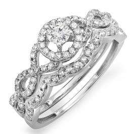0.50 Carat (ctw) 10k White Gold Round Diamond Ladies Halo Style Bridal Engagement Ring Matching Band Set 1/2 CT