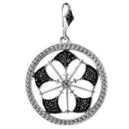 0.15 Carat (ctw) Sterling Silver Round Black Diamond Fancy Antique Look Circle Ladies Pendant