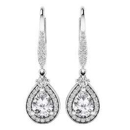 Sterling Silver 7X5 MM Each Pear Cut Lab Created White Sapphire & Round Diamond Dangling Earrings