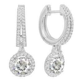 14K White Gold 5.5 MM Each Round Lab Created White Sapphire & Diamond Ladies Dangling Earrings