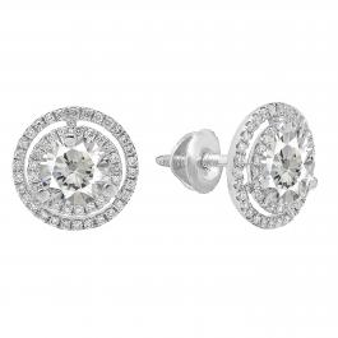 14K White Gold 6 MM Each Round Lab Created White Sapphire & White Diamond Ladies Stud Earrings