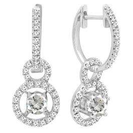 10K White Gold 4.5 MM Round Lab Created White Sapphire & Diamond Ladies Halo Dangling Earrings