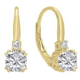 14K Yellow Gold 5 MM Each Cushion Cut Lab Created White Sapphire & Round Diamond Drop Earrings