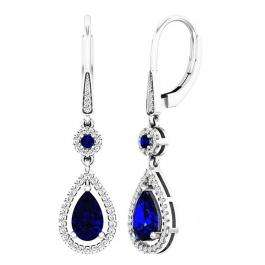 10K White Gold 8X5 MM Lab Created Round & Pear Blue Sapphire & Round Diamond Dangling Earrings