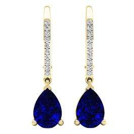 18K Yellow Gold 10X7 MM Pear Lab Created Blue Sapphire & Round Diamond Ladies Drop Earrings