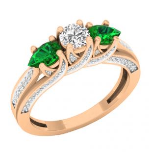 14K Rose Gold 5X3 MM Pear Lab Created Emerald & Round Diamond Ladies 3 Stone Engagement Ring