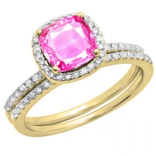 1.75 Carat (ctw) 10K Yellow Gold Cushion Cut Amethyst & Round Cut White Diamond Ladies Bridal Halo Engagement Ring With Matching Band Set 1 3/4 CT