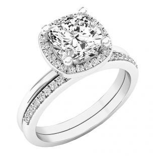 18K White Gold 7 MM Cushion Lab Created White Sapphire & Round Diamond Ladies Bridal Ring Set