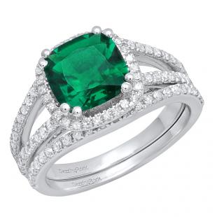 10K White Gold 8 MM Cushion Lab Created Emerald & Round Diamond Ladies Bridal Ring Set