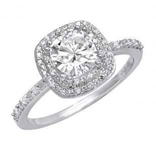 18K White Gold 6 MM Cushion Lab Created White Sapphire & Round Diamond Ladies Engagement Ring