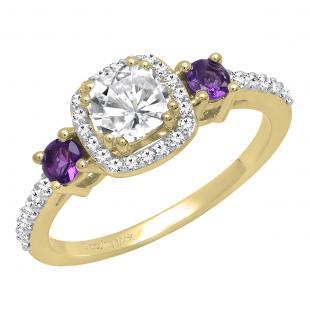 14K Yellow Gold 5 MM Cushion Created White Sapphire, Round Amethyst & Diamond Ladies Engagement Ring