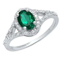 Sterling Silver 7X5 MM Oval Lab Created Emerald & White Diamond Ladies Engagement Ring