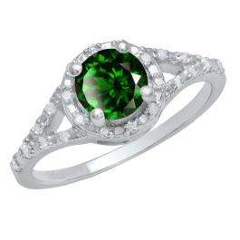 Sterling Silver 6 MM Round Lab Created Emerald & White Diamond Ladies Engagement Ring