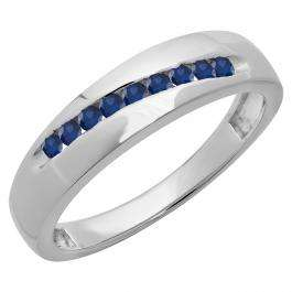 Sterling Silver Round Lab Created Blue Sapphire Men's Anniversary Wedding Stackable Band