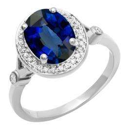 10K White Gold 9X7 MM Oval Lab Created Blue Sapphire & Round Diamond Bridal Engagement Ring