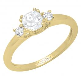 10K Yellow Gold 5 MM Cushion & Round Lab Created White Sapphire Bridal Engagement Ring