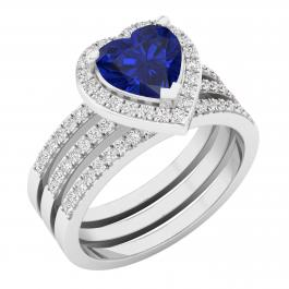 7 MM Heart Lab Created Blue Sapphire & Natural Round Diamond Ladies Double Band Set, 18K White Gold