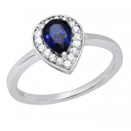 7X5 MM Pear Lab Created Blue Sapphire & Round White Sapphire Ladies Halo Engagement Ring, 10K White Gold
