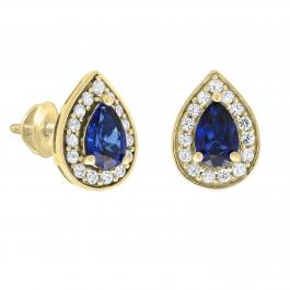 6X4 MM Pear Lab Created Blue Sapphire & Round White Sapphire Ladies Halo Teardrop Stud Earring, 14K Yellow Gold