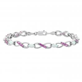 6X4 mm Marquise Lab Created Opal & Round Pink Sapphire Ladies Infinity Bracelet, Sterling Silver