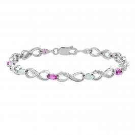 3X6 mm Marquise Created Opal & Pink Sapphire With Round Diamond Accents Bracelet, Sterling Silver