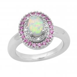 8X5.5 mm Created Opal, Created Pink Sapphire & Natural Diamond Accent Ladies Ring, Sterling Silver