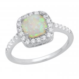 7 mm Cushion Lab Created Opal & Round White Sapphire Ladies Halo Engagement Ring | Sterling Silver