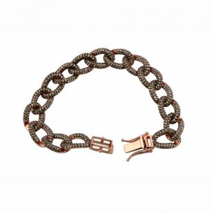 6.77 Carat (ctw) Sterling Silver Round Cut Champagne Diamond Men's Link Bracelet