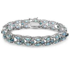 3 Colors of Topaz - Swiss London and Sky Blue Oval and Round Shape 17.00 CT Sterling Silver Tennis Bracelet (8.00 Inch Length x 0.47 Inch Wide)