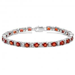 12.00 Carat (ctw) Sterling Silver Real Oval & Round Cut Genuine Red Sapphire & White Topaz Ladies Tennis Bracelet (7.25 Inch Length x 4.5 MM Wide)