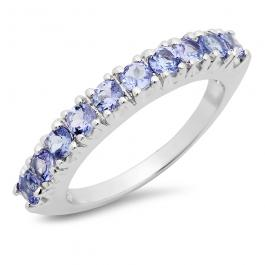 2.00 Carat (ctw) Sterling Silver Round Cut Tanzanite Ladies Anniversary Stackable Wedding Band 2 CT