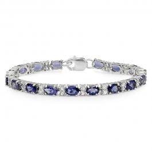 22.14 Carat (ctw) Sterling Silver Oval Shape Iolite & Round Cut White Topaz Ladies Tennis Bracelet (7 Inch Length)