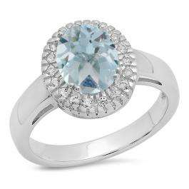Sterling Silver Oval Cut Aquamarine & Round White Sapphire Ladies Halo Style Bridal Engagement Ring