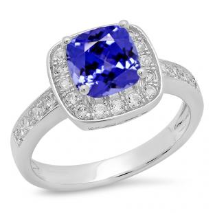 Sterling Silver Cushion Cut Tanzanite & Round White Sapphire Ladies Halo Style Split Shank Bridal Engagement Ring