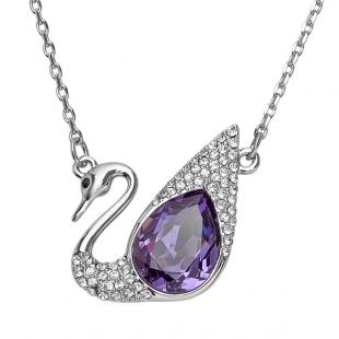 Platinum Plated Ladies Swan Round White and Amethyst Swarovski Crystals Pendant (1.25 Inch Height x 1.50 Inch Width)