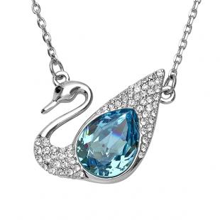Platinum Plated Ladies Swan Round White and Blue Topaz Swarovski Crystals Pendant (1.25 Inch Height x 1.50 Inch Width)
