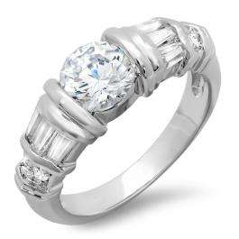 1.50 CT Classic Ladies Baguette and Round Cubic Zirconia CZ Engagement Ring (Available in size 6 7 8)
