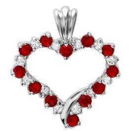 Platinum Plated Silver Tone Ladies Cubic Zirconia CZ Round Ruby & White Cubic Zirconia Heart Pendant (22mm height x 20mm width)