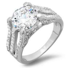 3.50 CT Platinum Plated Split Shank Ladies Round Cut Cubic Zirconia CZ Engagement Ring (Available in size 6 7 8)