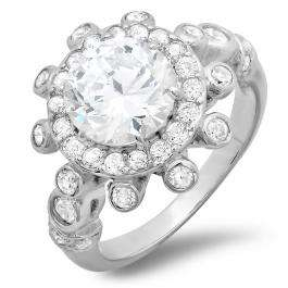 2.50 CT Platinum Plated Cluster Flower Ladies Round Cut Cubic Zirconia CZ Engagement Ring (Available in size 6 7 8)