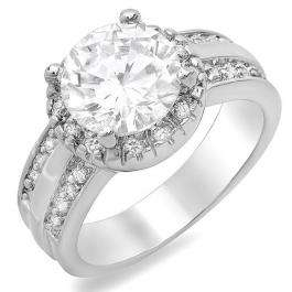 3.50 CT Classic Ladies Round Cubic Zirconia CZ Engagement Ring (Available in size 6 7 8)