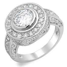 2.50 CT Classic Ladies Baguette and Round Cubic Zirconia CZ Engagement Ring (Available in size 6 7 8)