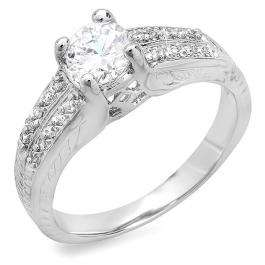 1.00 CT Classic Ladies Round Cubic Zirconia CZ Engagement Ring (Available in size 6 7 8)