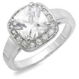 2.00 CT Platinum Plated Ladies Cushion and Round cut Cubic Zirconia CZ Engagement Ring (Available in size 6 7 8)