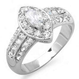 1.50 CT Ladies Halo Style Marquise & Round Cubic Zirconia CZ Wedding Bridal Engagement Ring (Available in size 6 7)