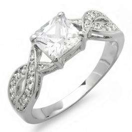 1.50 CT Ladies Princess & Round Cubic Zirconia CZ Wedding Bridal Engagement Ring (Available in size 6 7)
