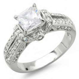 2.00 CT Ladies Princess & Round Cubic Zirconia CZ Wedding Bridal Engagement Ring (Available in size 6 7)