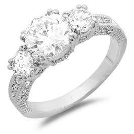2.50 CT Ladies Round Cubic Zirconia CZ Wedding Bridal Engagement Ring (Available in size 6 7)