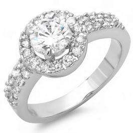 1.50 CT Platinum Plated Ladies Round Cubic Zirconia CZ Engagement Ring (Available in size 6 7 8)